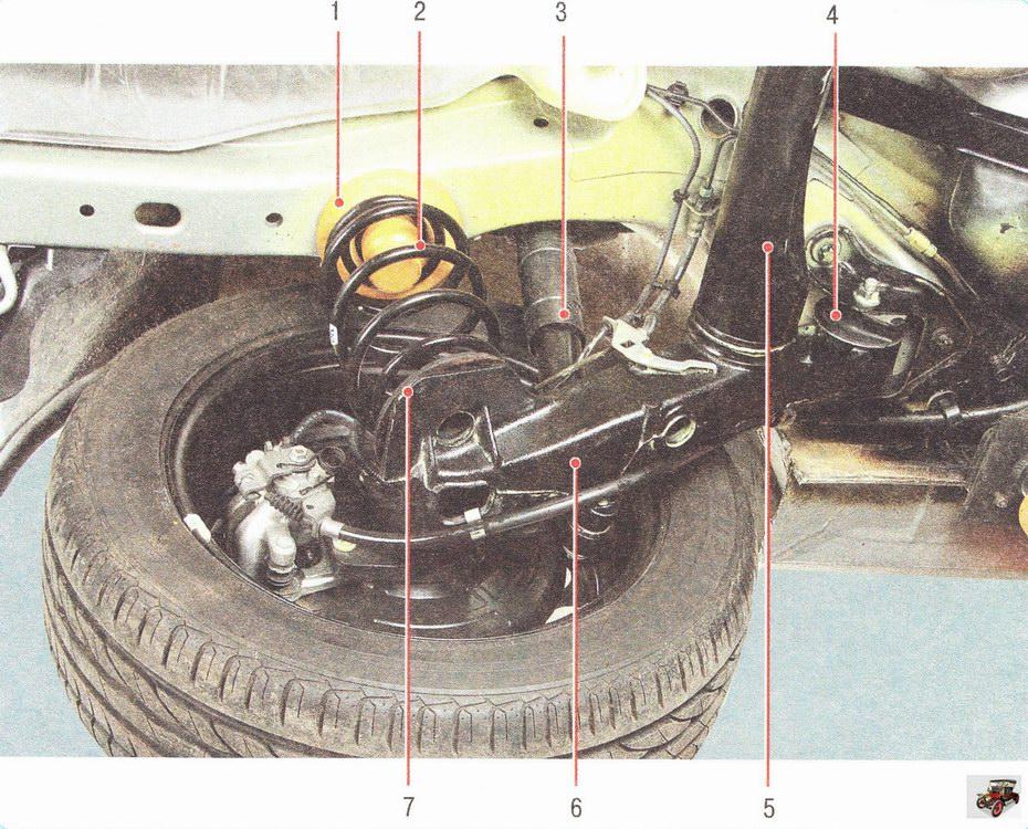 Расположение элементов задней подвески на автомобиле Опель Астра Н