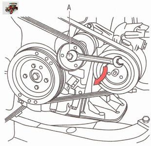 Снятие ремня привода вспомогательных агрегатов двигателей Z 20 LER и Z 20 LEH на автомобиле Опель Астра Н