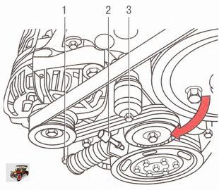 Снятие ремня привода вспомогательных агрегатов двигателя Z 14 ХЕР на автомобиле Опель Астра Н