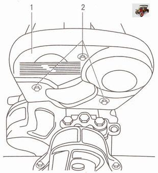 Снятие передней крышки привода газораспределительного механизма двигателя Z 18 XER на автомобиле Опель Астра Н