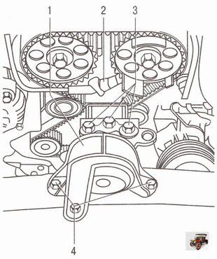 Снятие датчика фазы и правой опоры подвески двигателя Z 18 XER