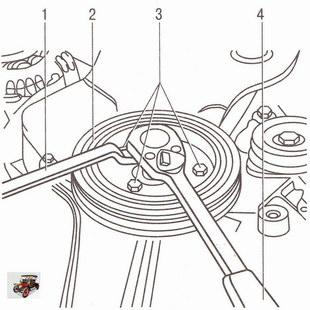 Снятие шкива коленчатого вала двигателей Z 20 LER и Z 20 LEH на автомобиле Опель Астра Н