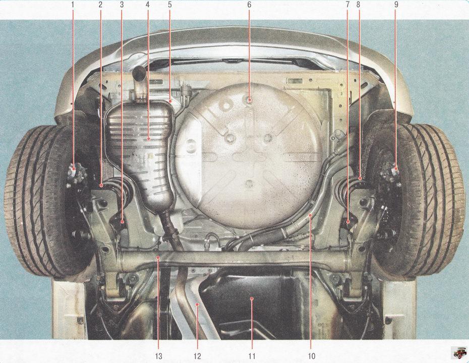 Основные агрегаты автомобиля Опель Астра Н (вид снизу сзади)