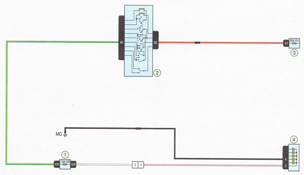 Электрическая схема 10. Подключение задних противотуманных фонарей автомобиль Лада Ларгус