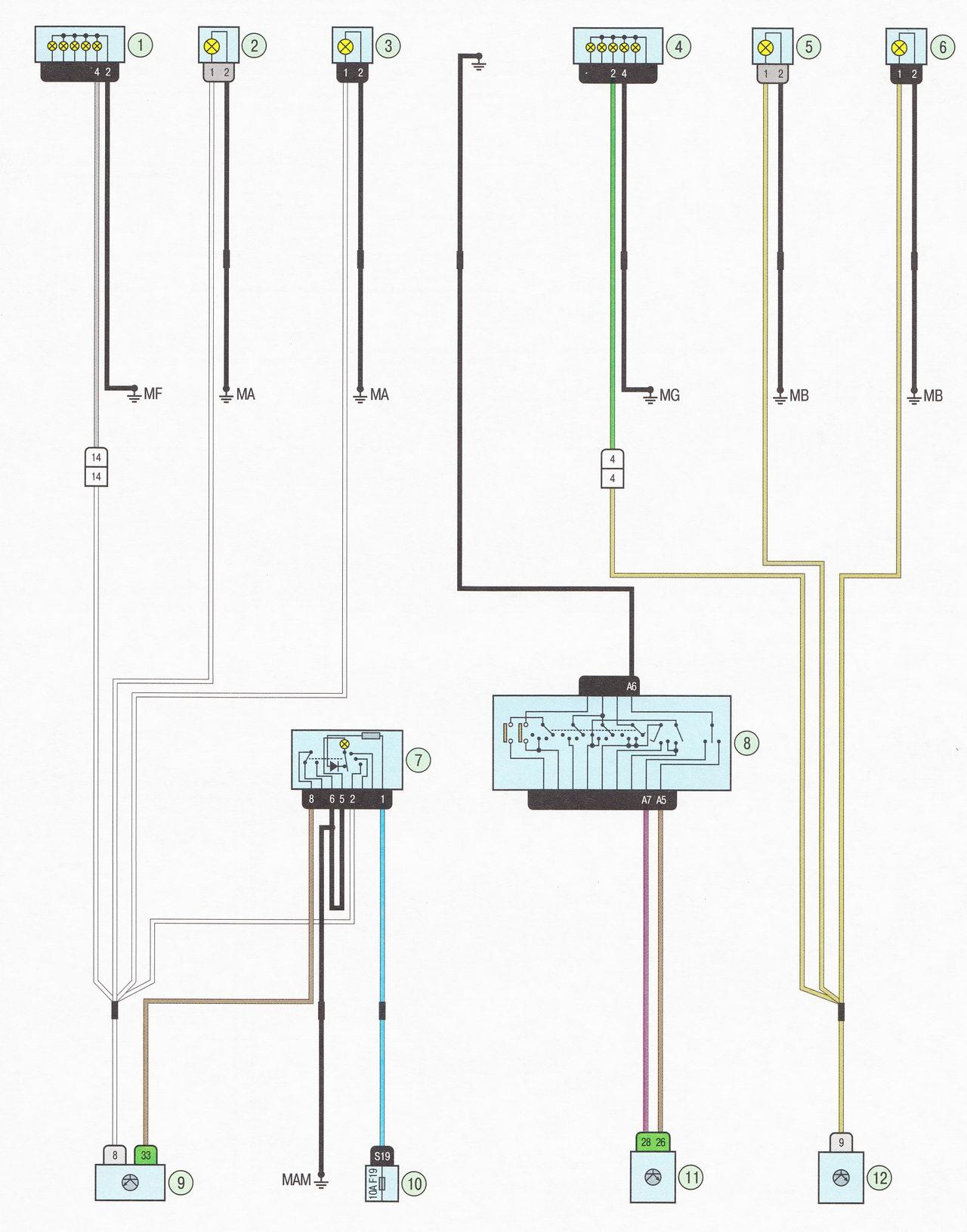 Электрическая схема 11. Указатели поворота и аварийная сигнализация автомобиль Лада Ларгус