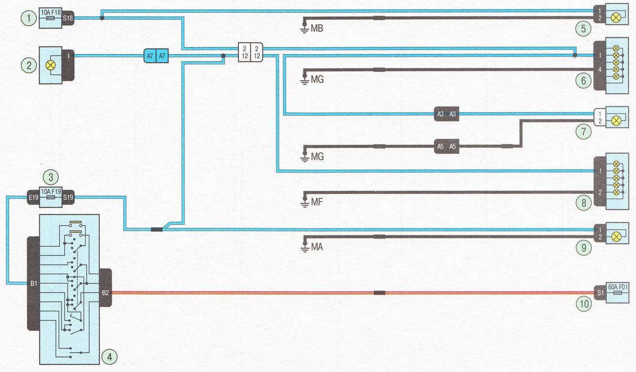 Электрическая схема 12. Подключение габаритных огней автомобиль Лада Ларгус