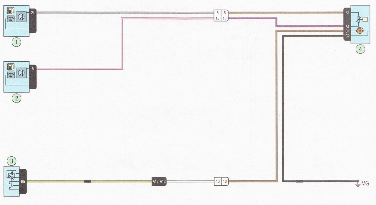 Электрическая схема 13. Подключение топливного насоса и датчика уровня топлива автомобиль Лада Ларгус