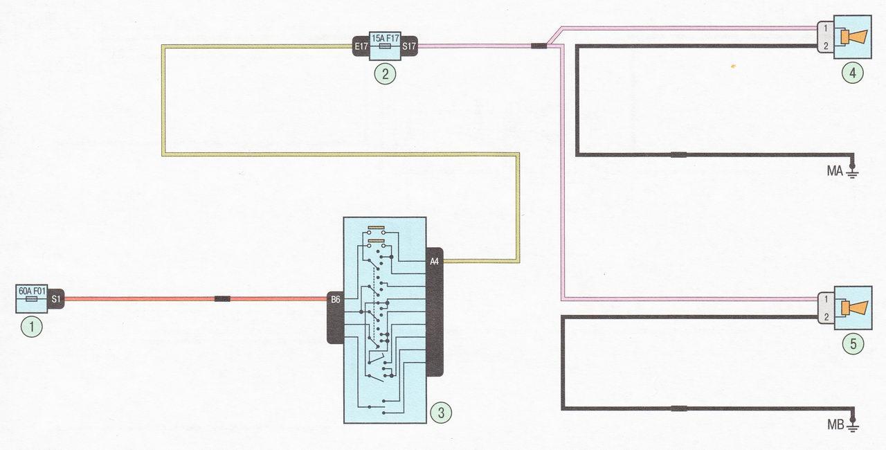Электрическая схема 14. Подключение звукового сигнала автомобиль Лада Ларгус