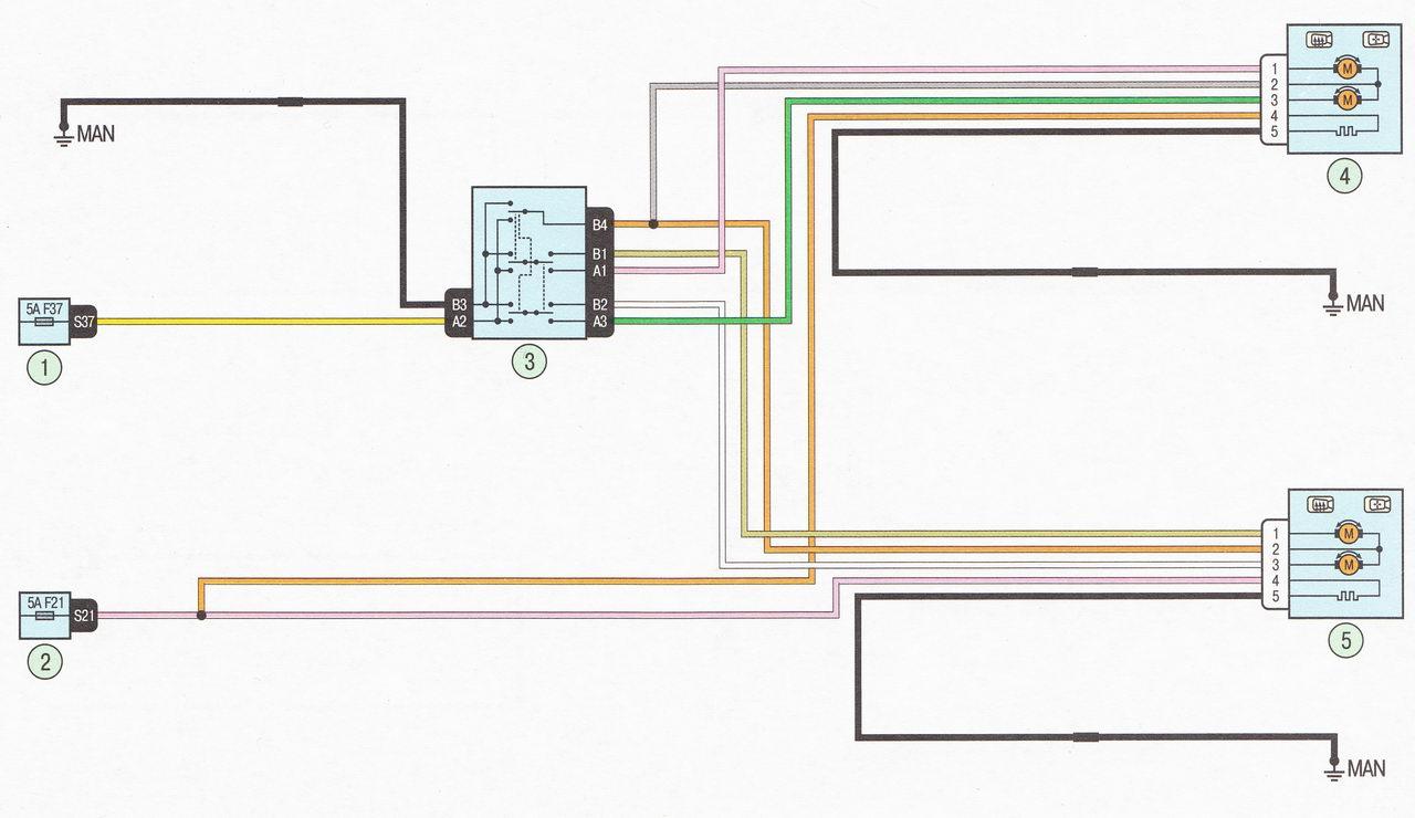 Электрическая схема 16. Подключение зеркал заднего вида автомобиль Лада Ларгус