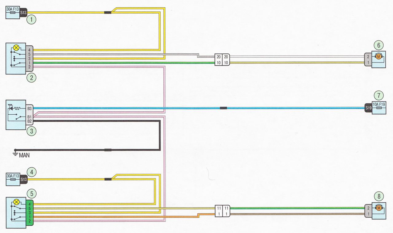 Электрическая схема 19. Подключение стеклоподъемников задних дверей автомобиль Лада Ларгус