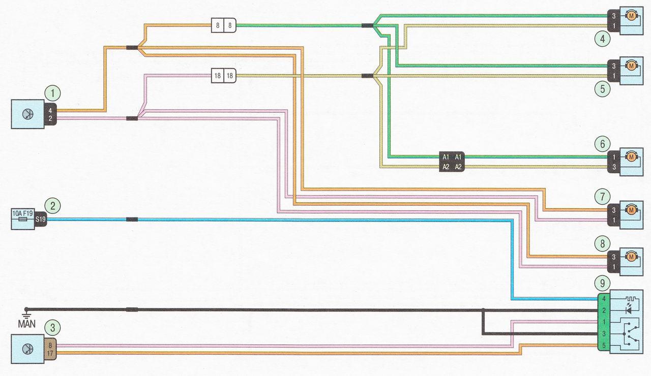 Электрическая схема 20. Система управления центральным замком автомобиль Лада Ларгус