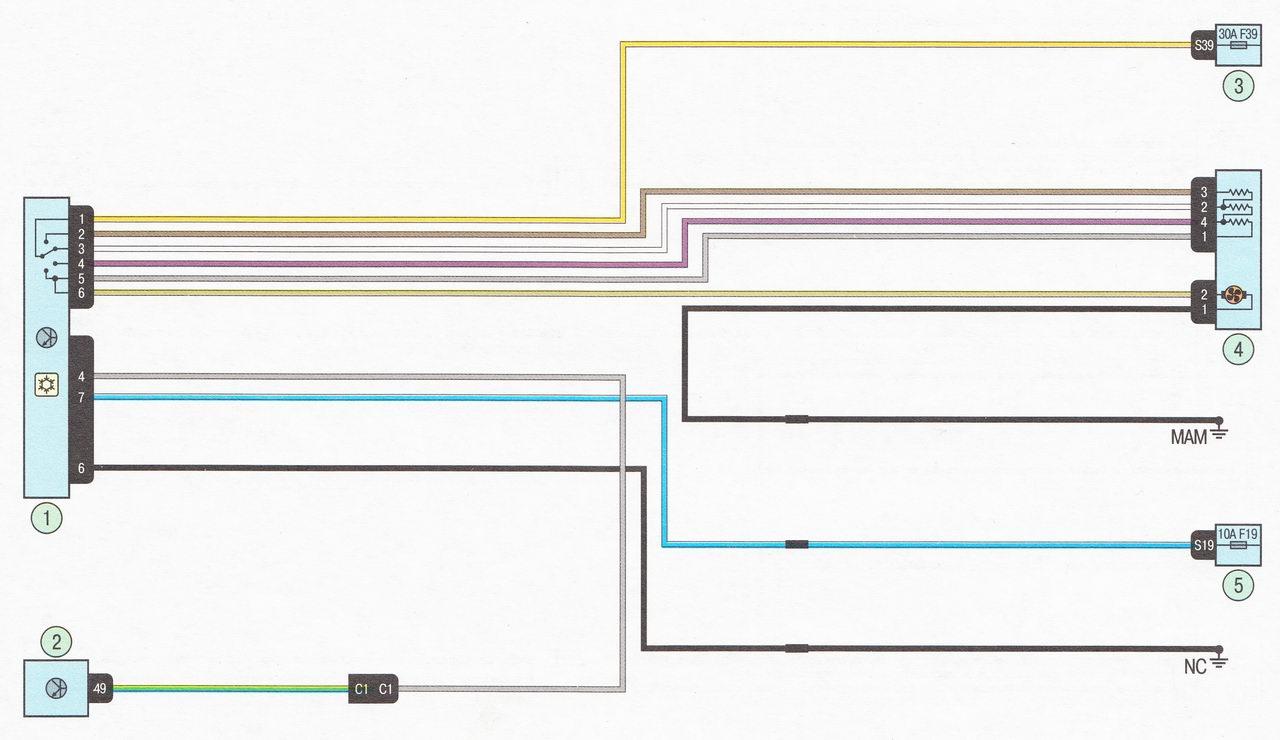 Электрическая схема 21. Система отопления и вентиляции салона автомобиль Лада Ларгус