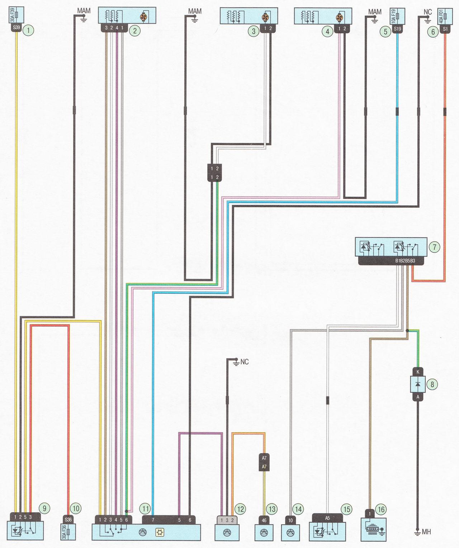 Электрическая схема 22. Подключение системы отопления (кондиционера) и вентиляции салона автомобиль Лада Ларгус