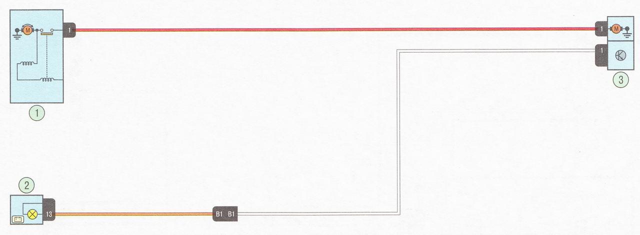 Электрическая схема 6. Подключение цепи зарядки аккумулятора автомобиль Лада Ларгус с двигателем К7М