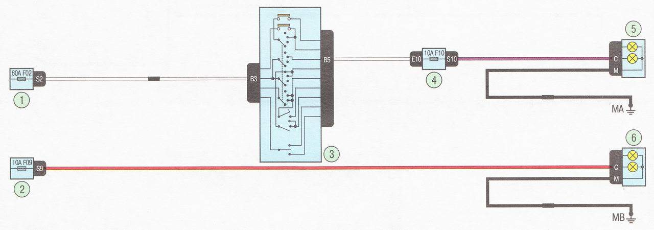 Электрическая схема 7. Подключение ближнего света фар автомобиль Лада Ларгус