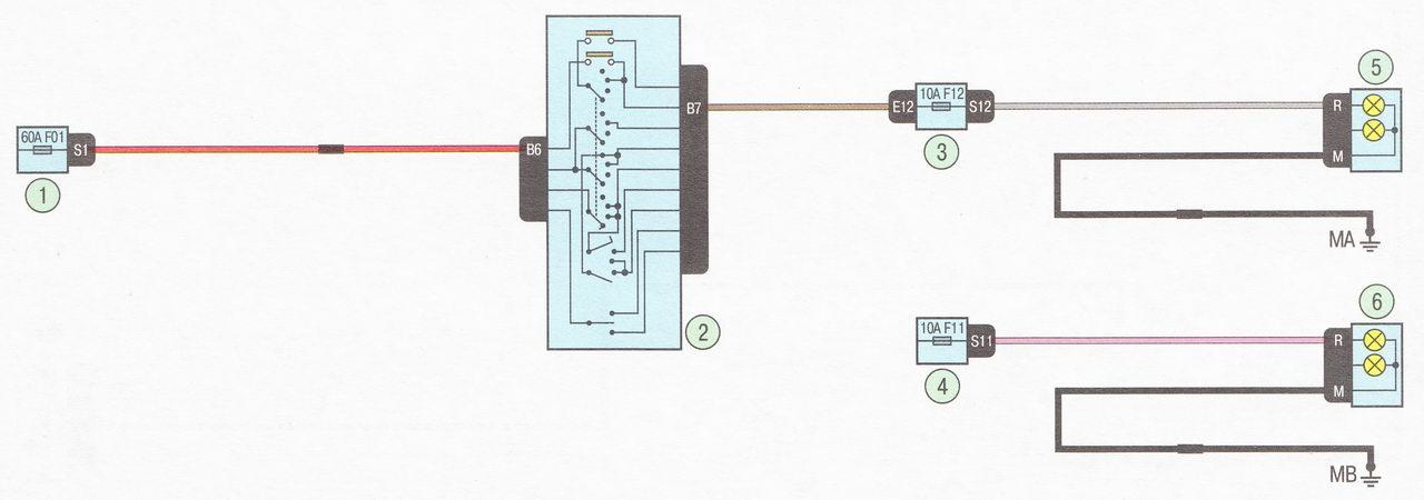 Электрическая схема 8. Подключение дальнего света фар автомобиль Лада Ларгус