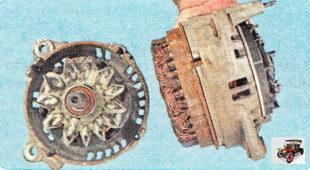 крышка в сборе с ротором и крышка со статором генератора