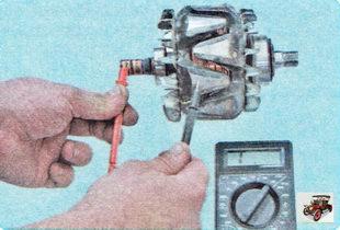 проверьте замыкание обмотки ротора генератора на «массу»