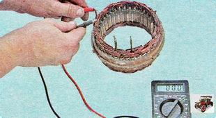 проверьте обмотки статора генератора на обрыв