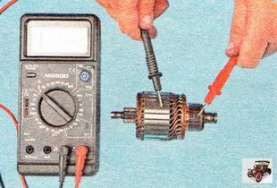 проверьте омметром каждую обмотку ротора на короткое замыкание с корпусом ротора стартера