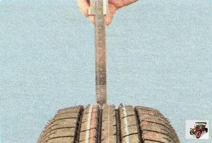 проверка штангенциркулем остаточной глубины протектора шины