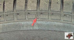 Места расположения индикаторов помечены на боковине шины треугольником