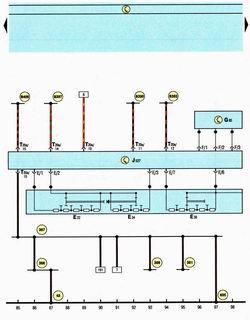 Схема блока управления электроникой рулевой колонки, стеклоочистители, моторедукторы стеклоочистителей, датчик углового перемещения руля Шкода Октавия А5