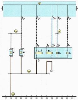 Схема левые задние фонари автомобиля Шкода Октавия А5