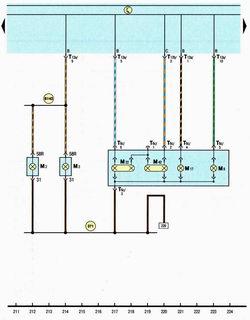 Схема правые задние фонари автомобиля Шкода Октавия А5