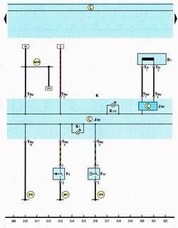 Схема иммобилайзера, панели приборов, уровня тормозной жидкости, стояночного тормоза Шкода Октавия А5