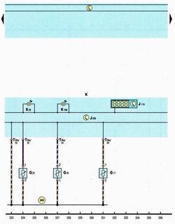 Схема комбинации приборов, датчика температуры, уровня охлаждающей жидкости, уровня жидкости в бачке стеклоомывателя, температуры наружного воздуха Шкода Октавия А5