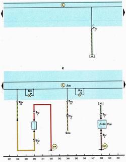 Схема комбинации приборов, датчика температуры, уровня масла в двигателе, открытия капота, износа передних тормозных колодок Шкода Октавия А5