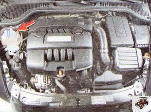 расположение расширительного бачка на автомобиле Шкода Октавия А5