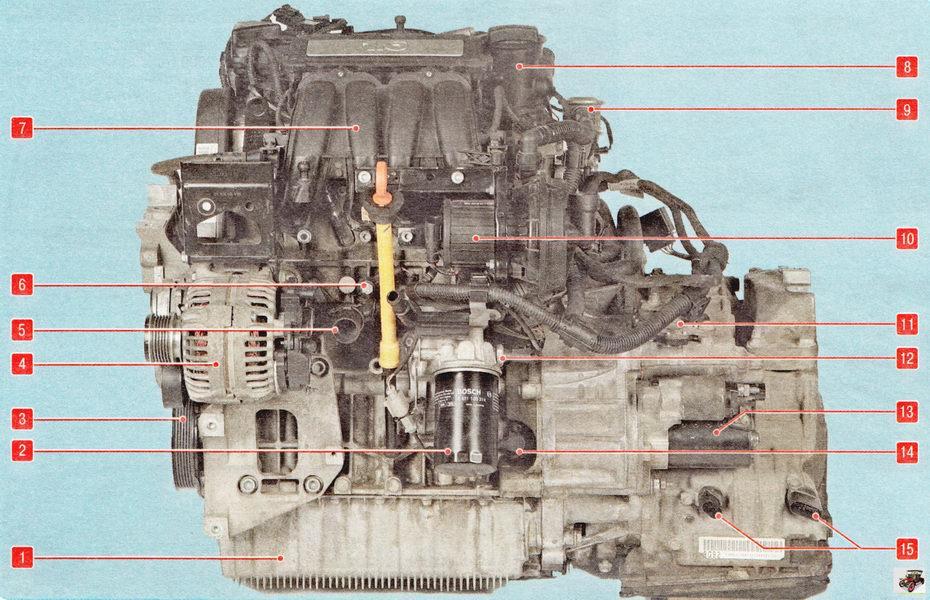 Силовой агрегат - двигатель Шкода Октавия А5 (вид спереди по направлению движения)