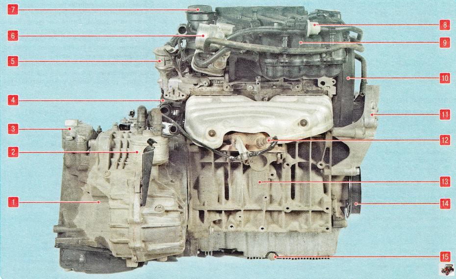 Силовой агрегат- двигатель Шкода Октавия А5 (вид сзади по направлению движения)