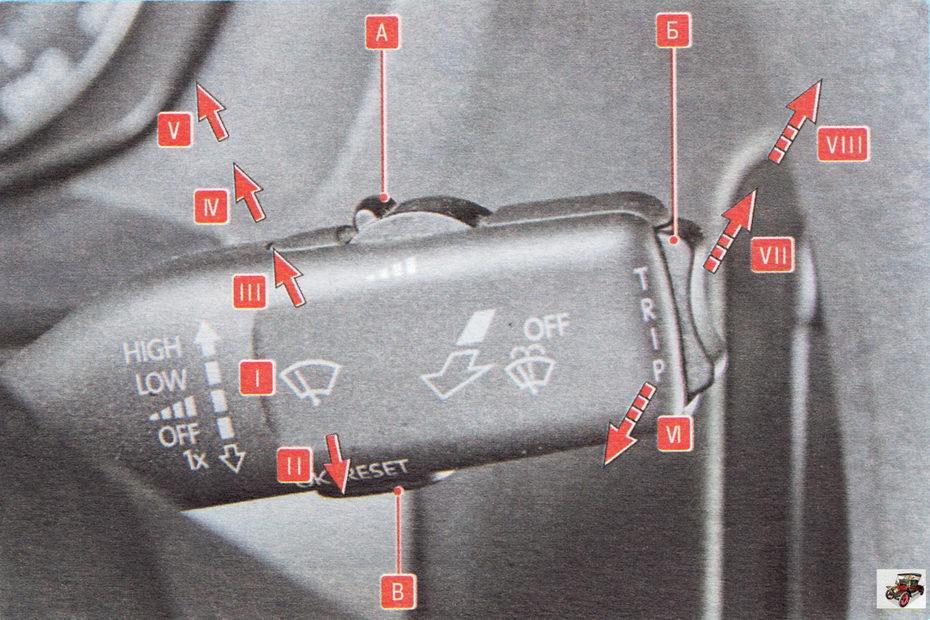 Рычаг переключателя очистителя и омывателя ветрового (заднего) стекла Шкода Октавия А5