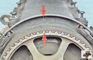 Проверьте совпадение меток на зубчатом шкиве распределительного вала и на крышке головки блока цилиндров