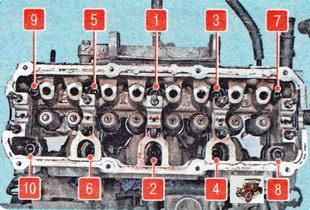 затягивайте болты головки блока цилиндров на холодном двигателе в указанном порядке в четыре этапа