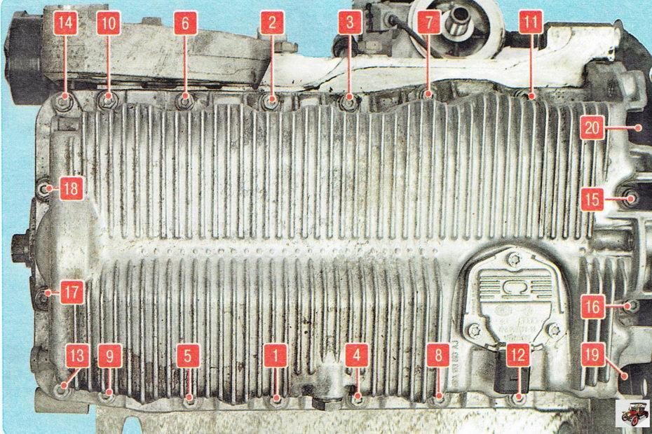 Порядок затяжки болтов крепления масляного картера двигателя Шкода Октавия А5