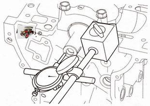 установите стойку с индикатором и проверьте осевой зазор коленчатого вала