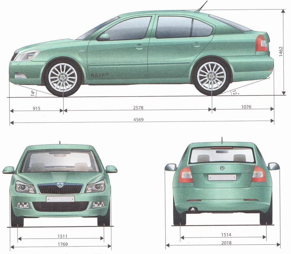 Габаритные размеры автомобиля Шкода Октавия А5 выпуска с 2009 года