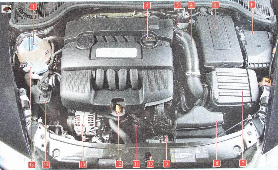 Подкапотное пространство автомобиля Шкода Октавия А5 с двигателем объемом 1,6 л