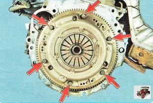 нажимной диск (корзина) сцепления крепится к маховику шестью болтами