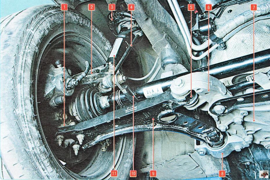 Расположение элементов передней подвески на автомобиле Шкода Октавия А5