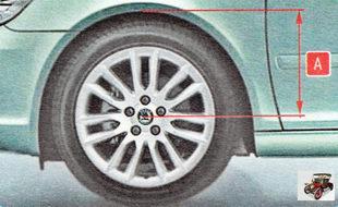 состояния передней подвески можно провести, измерив расстояние А