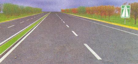 Разделительная полоса между проезжими частями для разных направлений и знак 5.1 «Автомагистраль»