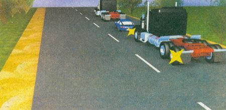 Водитель легкового автомобиля не может начать обгон, так как следующий за ним водитель грузового автомобиля уже включил левые указатели поворота...