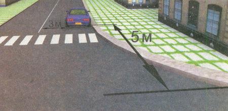 Остановившись за пешеходным переходом в 5 м от края пересекаемой проезжей части и обеспечив при этом расстояние 3 м...