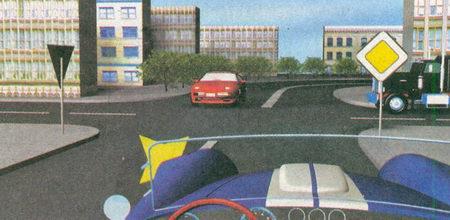 На данном перекрестке неравнозначных дорог легковой автомобиль, также как и вы, находится на главной дороге (знак 2.1 «Главная дорога»)...