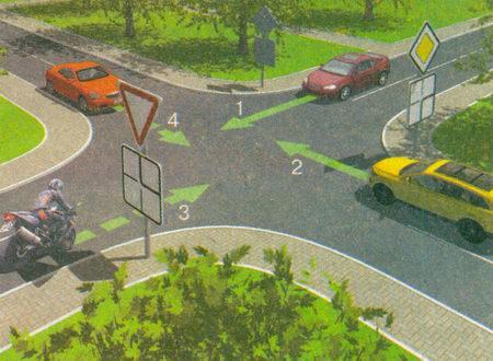 В случае, когда главная дорога на перекрестке меняет направление, водители, движущиеся по главной дороге...